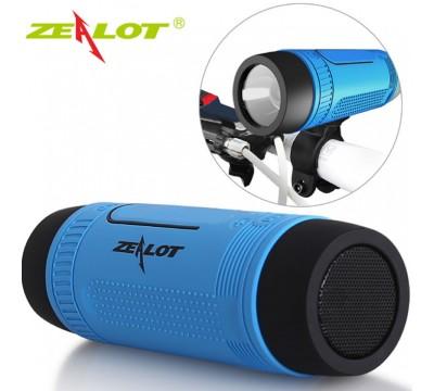 Портативная беспроводная Bluetooth колонка Zealot S1 со встроенным фонариком, радио и велокреплением