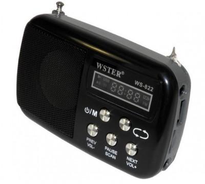 Миниатюрный радиоприемник WSTER WS-822 FM AM встроенный MP3 плеер цифровой экран