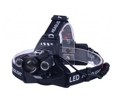 Мощный налобный фонарь Поиск P-1825B-Т6 180000W с поворотными фарами, центральным светодиодом CREE T6 и велокреплением в комплекте.
