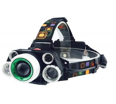 Мощный налобный фонарь с пятью фарами, фокусировкой центрального светодиода, четыре режима работы и питание от двух аккумуляторов