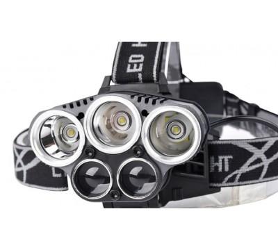 Мощный налобный фонарь с пятью светодиодами X-MEN H-T477, хорошей защитой от влаги и оригинальным задним отсеком для аккумуляторов.